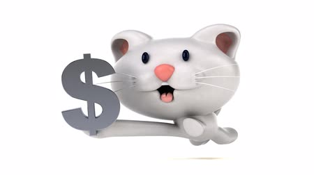 znak : Cartoon cat running and holding a dollar currency symbol