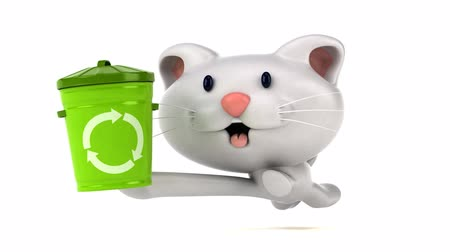 lixeira : Cartoon cat running and holding a recycle bin