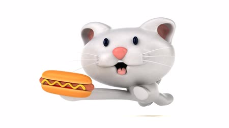 kot i pies : Cartoon cat running and holding a hotdog Wideo