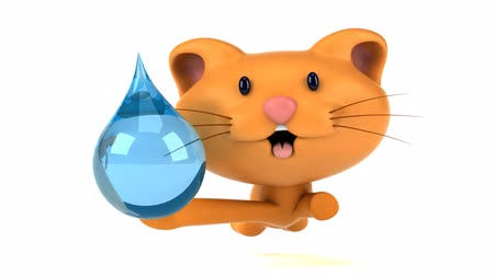 save the animals : Cartoon cat running with a water droplet Stock Footage