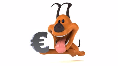 unie : Cartoon dog running and holding Euro currency symbol Dostupné videozáznamy