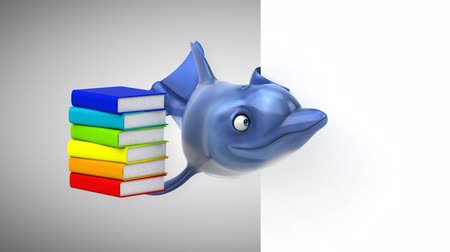 delfín : Cartoon dolphin with a stack of books Dostupné videozáznamy