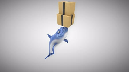 flippers : Cartoon dolphin with a stack of boxes