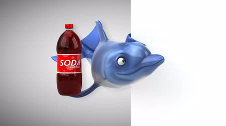 yunus : Cartoon dolphin with a bottle of soda Stok Video