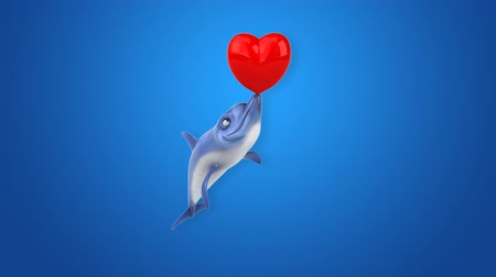 yunus : Cartoon dolphin with a heart Stok Video