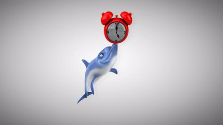 flippers : Cartoon dolphin with an alarm clock Stock Footage