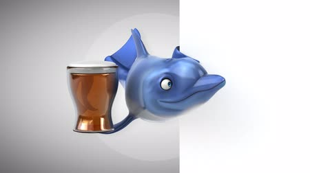 dolphin : Cartoon dolphin with a beer