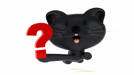 otázky : Cartoon cat running and holding a question mark