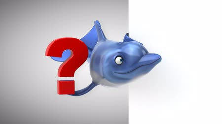ponto de interrogação : Cartoon dolphin holding a question mark