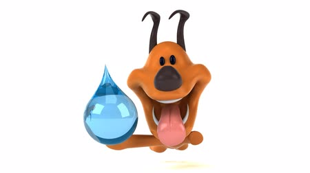 save the animals : Cartoon dog running with a water droplet Stock Footage