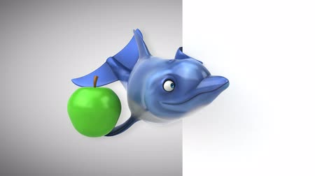 delfín : Cartoon dolphin holding an apple