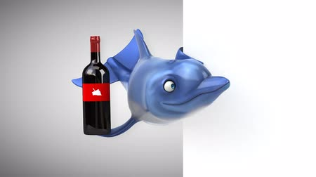 bílé víno : Cartoon dolphin holding a wine bottle