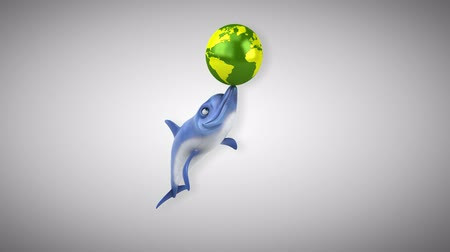 flippers : Cartoon dolphin playing with a globe Stock Footage