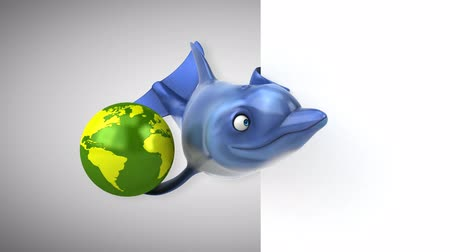 flippers : Cartoon dolphin holding a globe Stock Footage