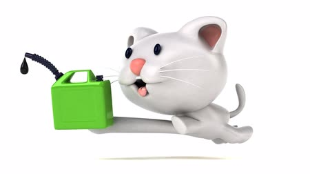 motorová nafta : Cartoon cat running with a jerrycan