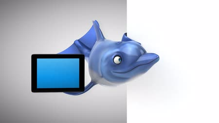 flippers : Cartoon dolphin holding a digital tablet Stock Footage