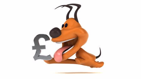 dog pound : Cartoon dog running with a pound symbol Stock Footage