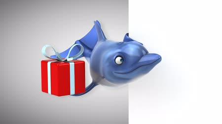 flippers : Cartoon dolphin holding a gift