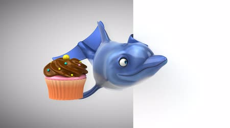 flippers : Cartoon dolphin holding a cupcake