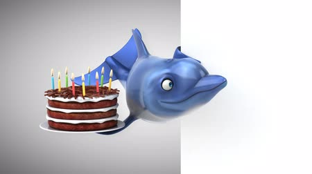 flippers : Cartoon dolphin holding a birthday cake