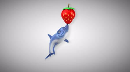 flippers : Cartoon dolphin playing with a strawberry