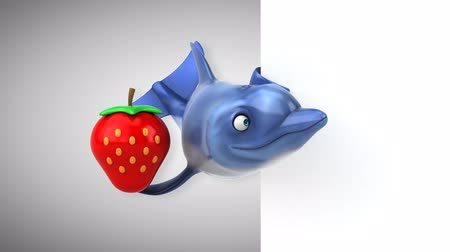 flippers : Cartoon dolphin holding a strawberry Stock Footage