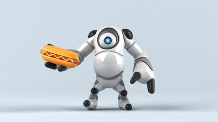 baharatlı alman sosisi : Cartoon robot with a hotdog Stok Video