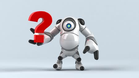 ponto de interrogação : Cartoon robot with question mark