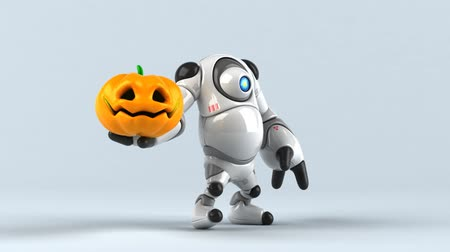 grão : Cartoon robot with a carved pumpkin Stock Footage
