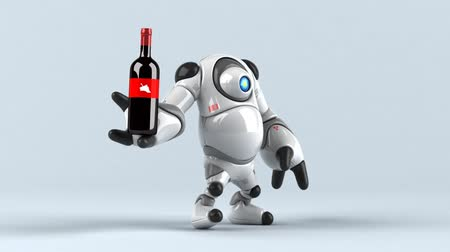 haladó : Cartoon robot with a wine bottle and glass