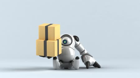 高度な : Cartoon robot with boxes