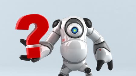 perguntando : Cartoon robot with a question mark