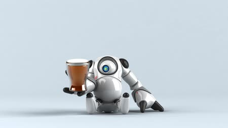 умный : Cartoon robot with a beer