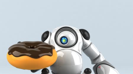 doughnut : Cartoon robot with a donut