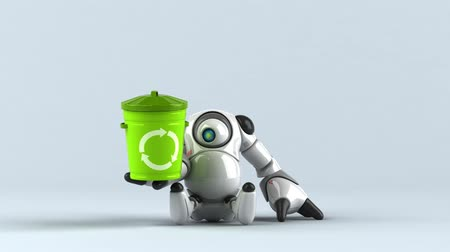 advanced : Cartoon robot with a recycling bin