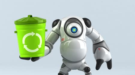 může : Cartoon robot with a recycling bin