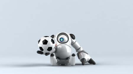 futball : Cartoon robot with a ball Stock mozgókép