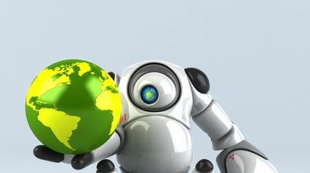 робот : Cartoon robot with a globe