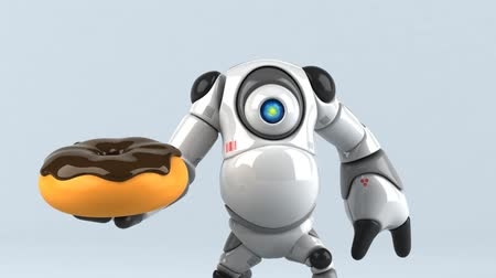 doughnut : Cartoon robot with donut
