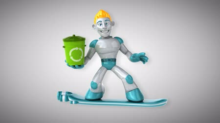 андроид : Cartoon robot man holding a recycle bin