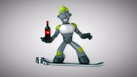 camsı : Cartoon robot man holding a wine bottle