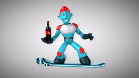 андроид : Cartoon robot man holding a wine bottle