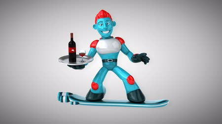camsı : Cartoon robot man holding a tray with wine Stok Video