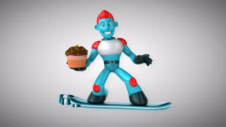 camsı : Cartoon robot man holding a cupcake