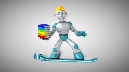 intelecto : Cartoon robot man holding a stack of books Stock Footage