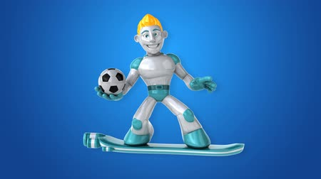 camsı : Cartoon robot man holding a soccer ball