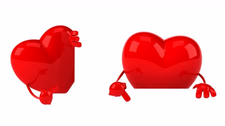 amour : Cartoon heart characters are pointing Stock Footage