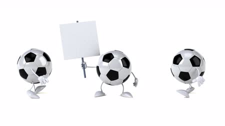 szlogen : Cartoon soccer ball characters with a signboard