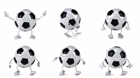 postacie : Cartoon soccer ball characters dancing and moving Wideo