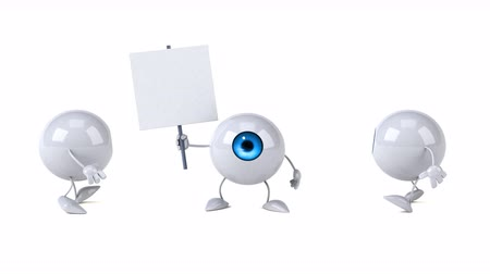 szlogen : Cartoon eye ball characters with a signboard